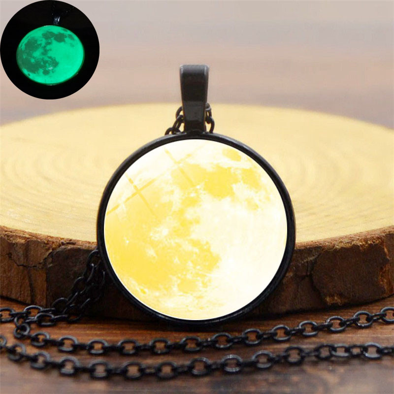 Glow In The Dark Yellow Galaxy Planet Glass Cabochon Pendant Necklace Fashion Jewelry Black Chain Luminous Moon Necklace Women
