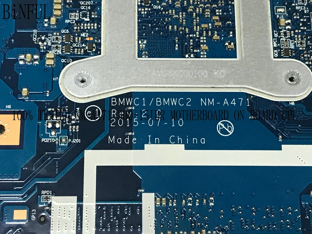 BiNFUL 100% TESTED BMWC1/BMWC2 NM-A471 LAPTOP MOTHERBOARD SUITABLE FOR LENOVO 300-15IBR NOTEBOOK PC ON BOARD CPU