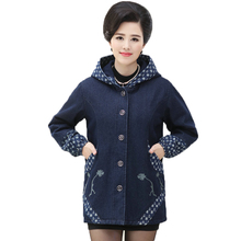 Women Denim Hooded Jacket Warm Thicken Fleece Coat Middle Aged Womans Plus Size Jeans Jackets Blue Flower Outerwear Mom Clothing
