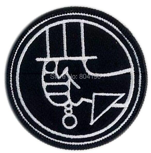 """3 """"Hellboy negro Logo TV película serie uniforme traje bordado hierro en parche gótico Punk-in Parches from Hogar y Mascotas    1"""