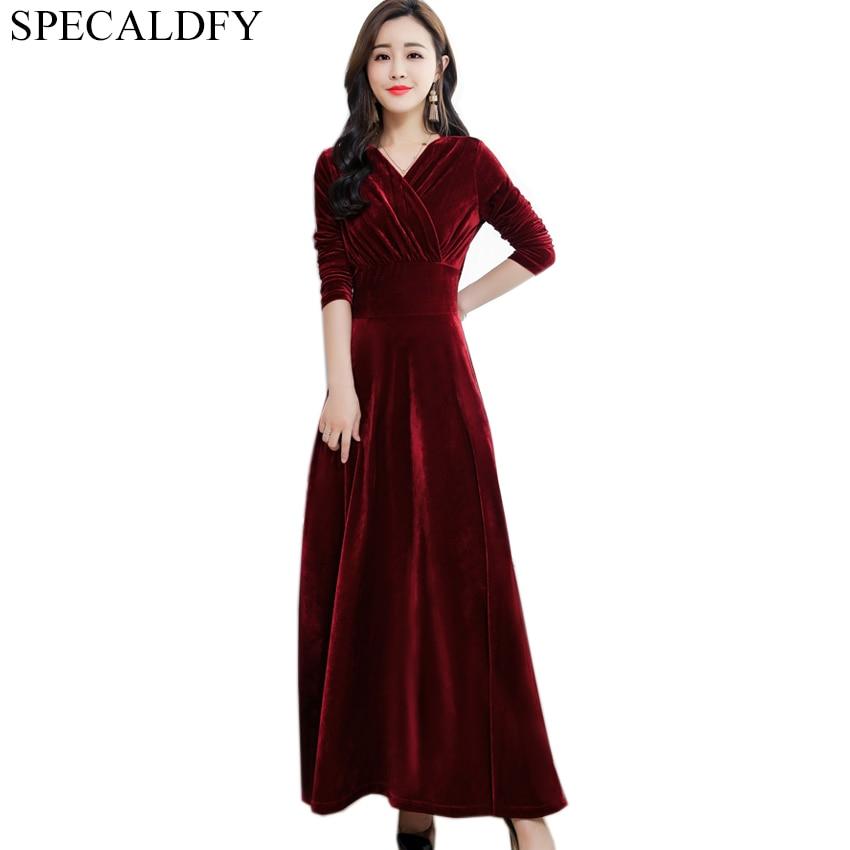 1e7294074b Autumn Winter Dress Women Long Sleeve Sexy Evening Party Dresses Long Red  Black Velvet Dress Plus Size Women Clothing Robe Femme