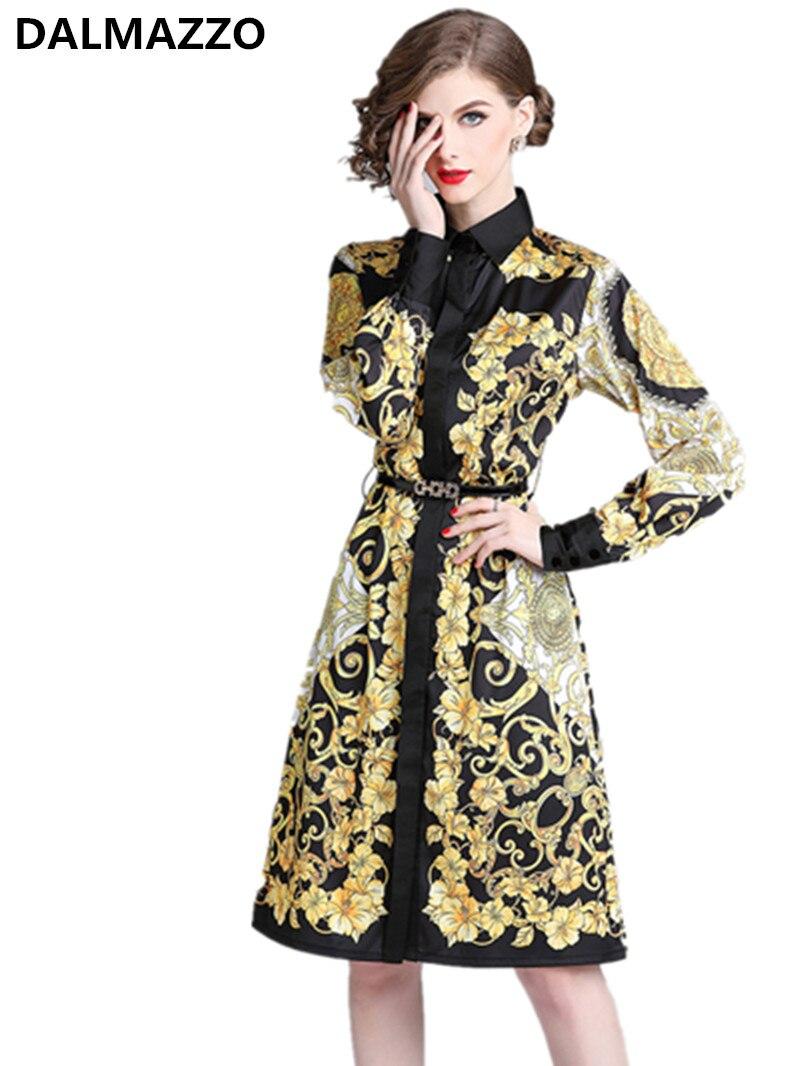 DALMAZZO Womans Royal Court Printed Long Sleeve Belt Shirt Dress Retro 2019 Newest Autumn Women's Knee-Length Dresses Large Size