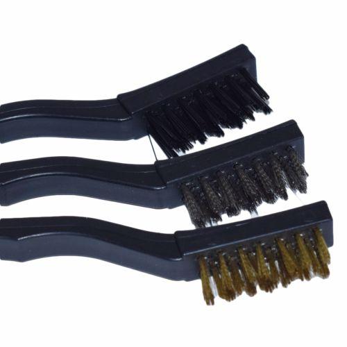 New 6pc Detail Wire Brush Set Steel Brass Nylon Cleaning Polishing Detail Metal