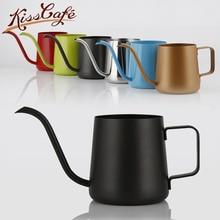 250/350/600ml Stainless Steel Gooseneck Kettle Teflon Non-stick Milk Frothing Jug Swan Neck Drip Coffee Tea Pot Coating