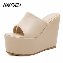 HAIYUELI New summer fashion trifle women sandals flip flop casual wedge shoes woman giRls high heels shoes platforms SIZE 34-39