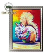 FineTime Animal Squirrel 5D DIY Diamond Painting Partial Round Drill Diamond Embroidery Cross Stitch Mosaic Painting finetime 5d diamond painting partial drill animal round diamond mosaic embroidery kit christmas decorations gift