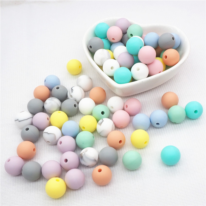 Chenkai 100pcs 9mm 12mm 15mm Silicone Teether Beads DIY Round Baby Pacifier Jewelry Sensory Teething Toy Making Beads BPA Free