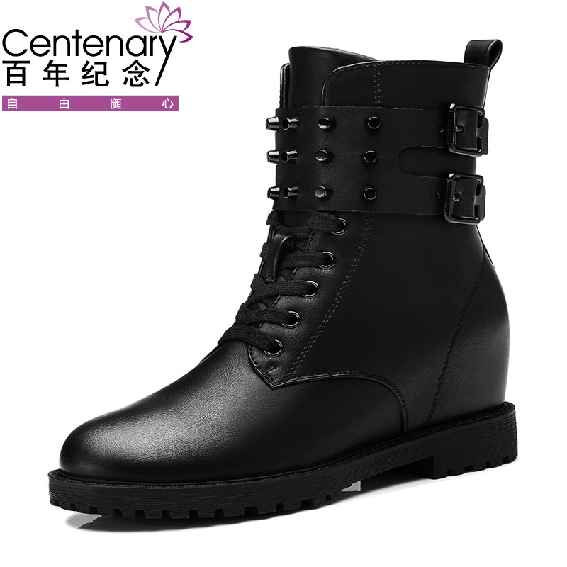 The 2017 winter new tide Centennial Martin boots British style studded boots with flat round boots in increased martin new winter with thick british style short canister female fall side zipper boots