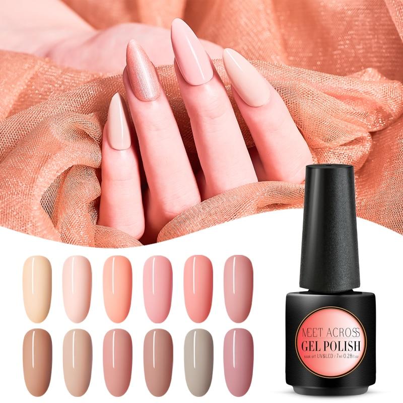 Meet Across Gel Nail Polish 7ml Nude Color Gel Polish Nail Art Soak Off Gel Varnish Semi Permanent Hybrid Gel Nail Polish