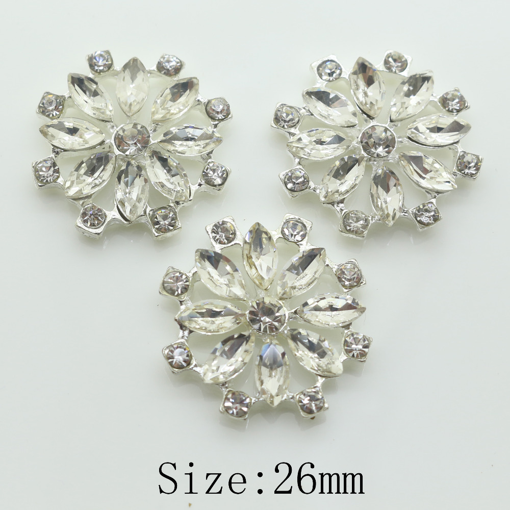 Hot Sale New Cleals 10pc 26mm Round Clear Crystal Rhinestone Button