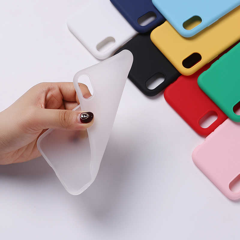 For iPhone 7Plus 7 6S 5S 8 8Plus X XS Max Case Fundas Capa Coque Back Cover Silicone Solid Candy Matt Simple Soft Phone Thin