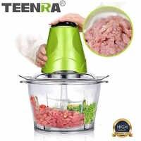 Picador eléctrico de carne TEENRA de 2 L, picador de verduras, picador multifuncional, cortador de verduras, utensilios de cocina inoxidables
