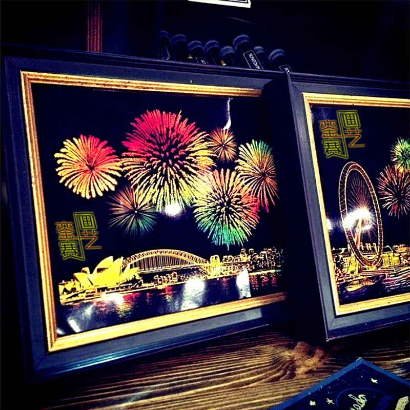 World City Postcard Fireworks Scratch Painting Colorful Fireworks Fireworks Original Pen Postcard Scratch Painting Ornaments
