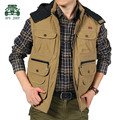 AFS JEEP 2015 Autumn/Winter Men's Pure Cotton Hooded Vest,Original Brand Newsmen thick loose Patchwork Waistcoat Khaki/Green