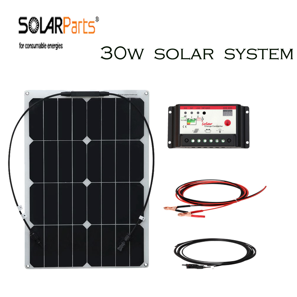 Solarparts 30w Semi-flexiblel solar panel system cell module controller cable MC4 connector  outdoor Solar energy 12v  battery energy efficient system for solar panel