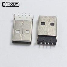10 pcs USB Tipo A Macho Conector do Soquete Plug SMD 4Pin Plugues Conectores DIY Preto Branco