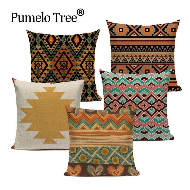 Boho Cushion Cover VillageTextil Plaid Stripes Throw Pillow 45Cmx45Cm Square Sofa And Chair Custom Printing Pillow Cover Cushion