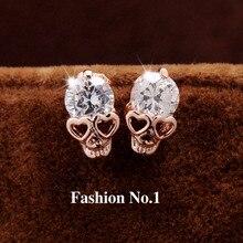 New Fashion Vintage Stud font b Earrings b font CZ Diamond 18K Gold Plated Skull Stud