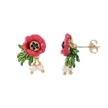 Red Flowers Pearl Earrings Without Pierced Ear Clips Classic Pearl Decorative Earrings Fashion Wedding Dress Accessories