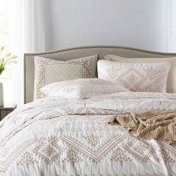 CHAUSUB narzuty haftowany zestaw kołder 3PC kołdry bawełniane pikowana narzuta na poduszkę rozmiar queen Summer prześcieradło