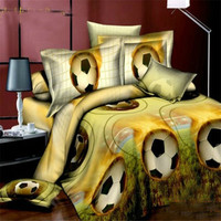 3D Football Boys Bedding Sets 100 Polyester Bed Sheet Without Quilt 3D Queen Size Football Boys