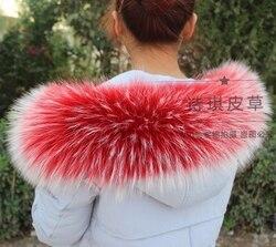 Colorful Genuine Raccoon Fur Detachable Collar Scarfs Fashion Coat Sweater Detachable  Luxury Fur Collar TKC003-RW