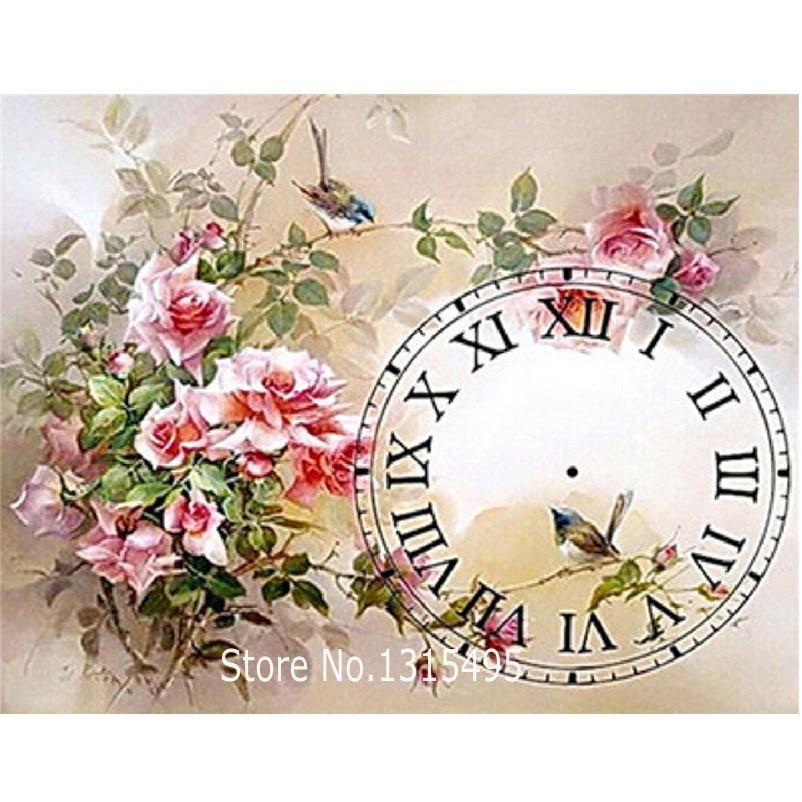 Korálek výšivka malování nastavit květiny s hodinami diamant - Umění, řemesla a šití
