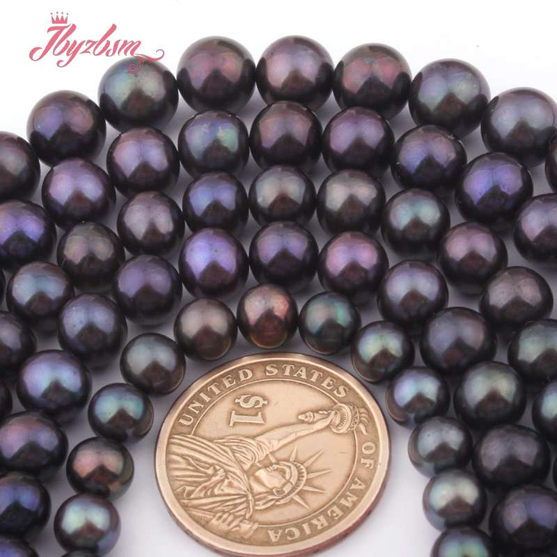 7-8,8-9,9-10,10-11mm Round Black Freshwater Pearl Beads Natural Stone Beads For DIY Necklace Jewelry Making 14.5