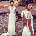 2014 Vintage White Chiffon V-neck Appliqued Lace Jenny Packham Wedding Dresses
