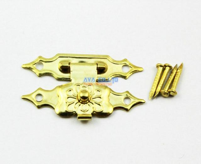 20 Gold Jewelry Box Hasp Latch Lock 30x18mm with Screws