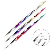 3 Pz/set 7/11 millimetri Arcobaleno Maniglia Francese Strisce Liner Pen Unghie Artistiche Pittura Disegno Del Fiore Acrilico Unghie Pennelli Manicure strumento