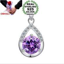 OMHXZJ Wholesale jewelry woman girl Amethyst AAA zircon 925 sterling silver NO Chain Necklace faith of love pendant Charms PE24