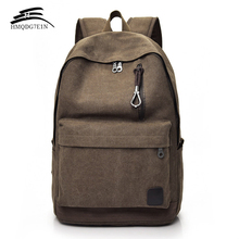 Men Canvas Backpack Male Laptop College Student School Bags