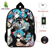 Sally Face рюкзаки детские школьные сумки подростковый Рюкзак Хип-Хоп сумка унисекс сумка для путешествий Нейлон 16 дюймов mochila может быть настро...