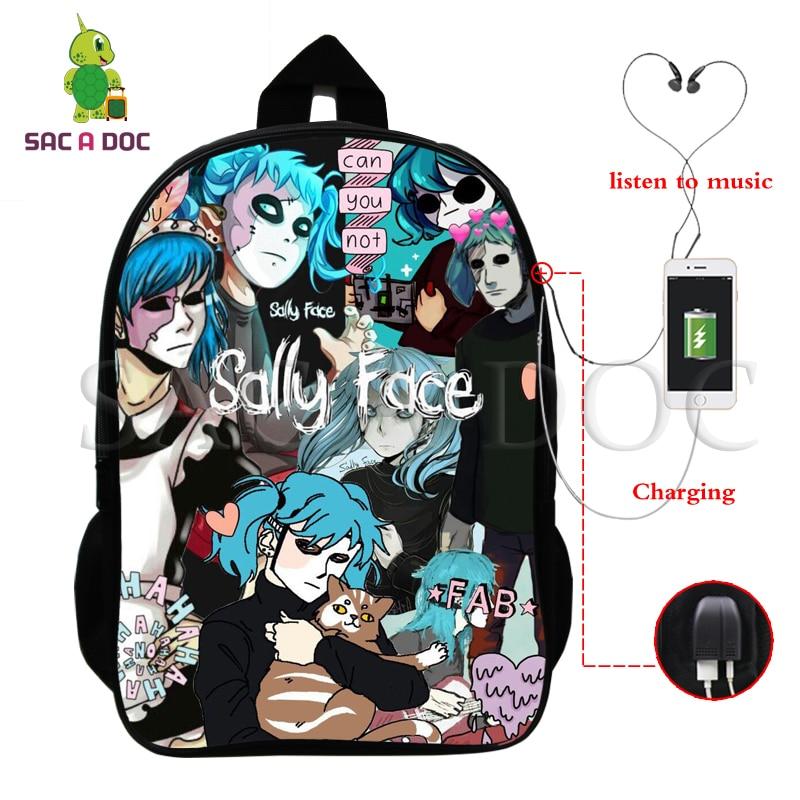 Sally Face backpacks kids school bags teenagers backpack Hip Hop Bag Unisex travel Bookbag Nylon 16 inch mochila Can Customized