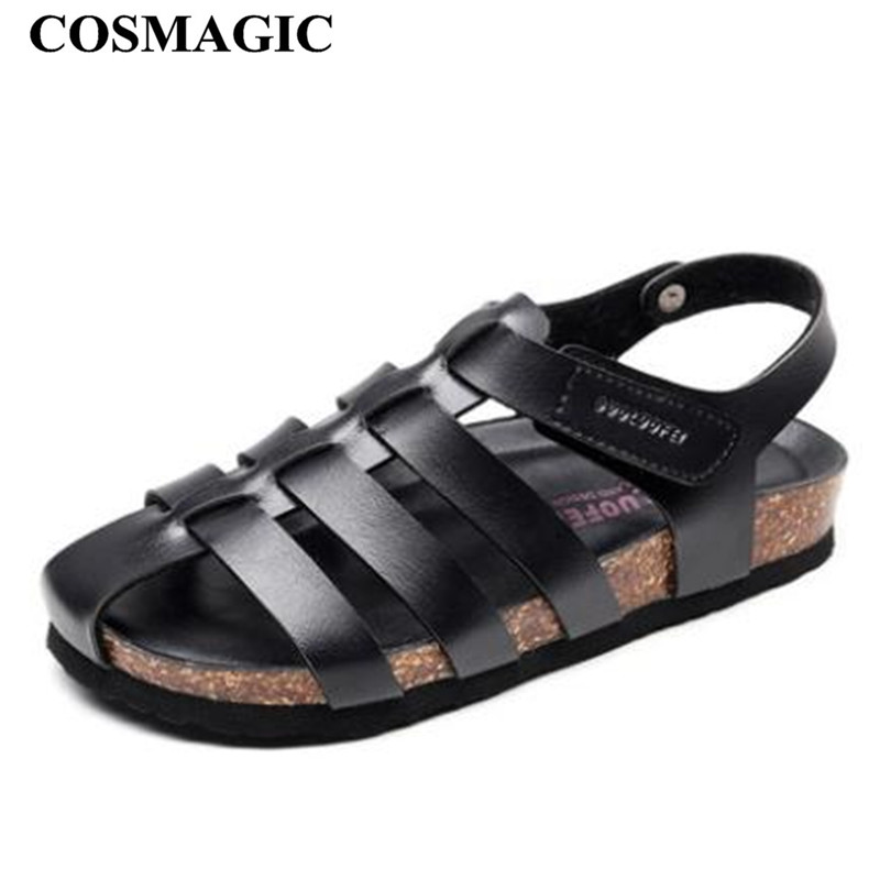COSMAGIC 2019 Fashion Men Beach Cork Sandals Summer Non slip Cut outs Outside EVA Sole PU