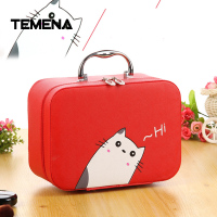 Temena New Cute Cat Pu Leather Makeup Box Cosmetic Bag Two Sizes Makeup Organizer Cute Cat