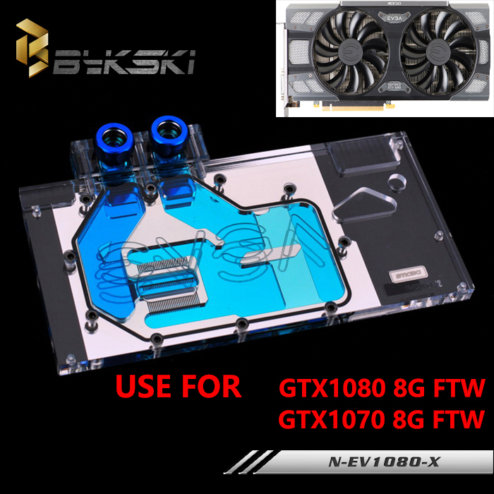 Bykski Full Cover Graphics Card Water Cooling Block use for EVGA GTX1080/1070 FTW GAMING 8G Radiator Block with RGB Light bykski multicol water cooling block cpu radiator use for amd ryzen am3 am4 acrylic cooler block 0 5mm waterway matel bracket