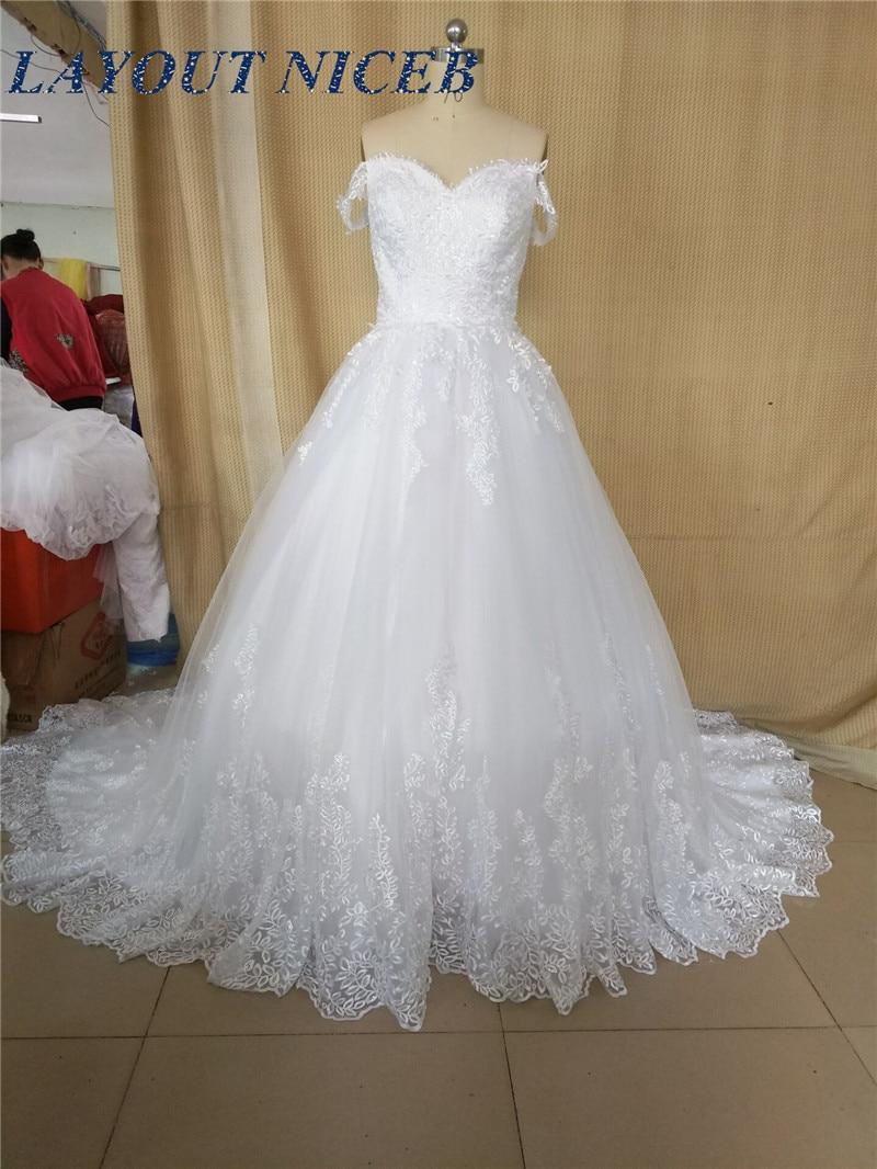 2018 robe de mariage font b Wedding b font Dresses Custom Made Lace Appliques Ball font
