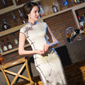 Longo Cheongsam Oriental Dresses Traditional Chinese Qipao with Flowers Trim Slit Side Tang suit Long Cheongsam Vestido Silk HOt