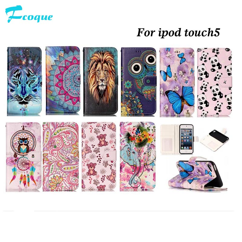 for iPod TOUCH5 Case New Relief Colorful Painting Leather Flip Cover for iPod TOUCH5 Coque Full Protective CASE
