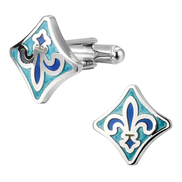 Hot Selling High Quality Brass Blue Shield Spear Cufflinks Wedding