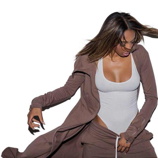 Женская Мода Зима Сексуальная Клуб Молния JumpsuiAts Высокий Воротник Регулярные Комбинезоны Из Двух Частей Наряды Урожай Длинные Брюки, Установленные Для Женщин