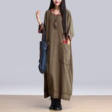 Casual Robes 2016 Printemps Automne Robe Femmes Armée Vert Robe Vintage Patwork Longue Lâche Coton Lin Robe Maxi Robe Femme