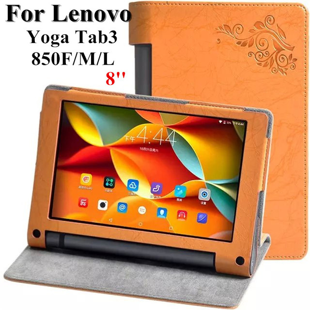 low cost f26d7 29941 US $9.31 6% OFF|Yoga Tab 3 8 inch Flower print case For Lenovo Yoga Tab3  YT3 850 YT3 850F YT3 850M YT3 850L Tablet Case PU Leather Flip Cover-in ...
