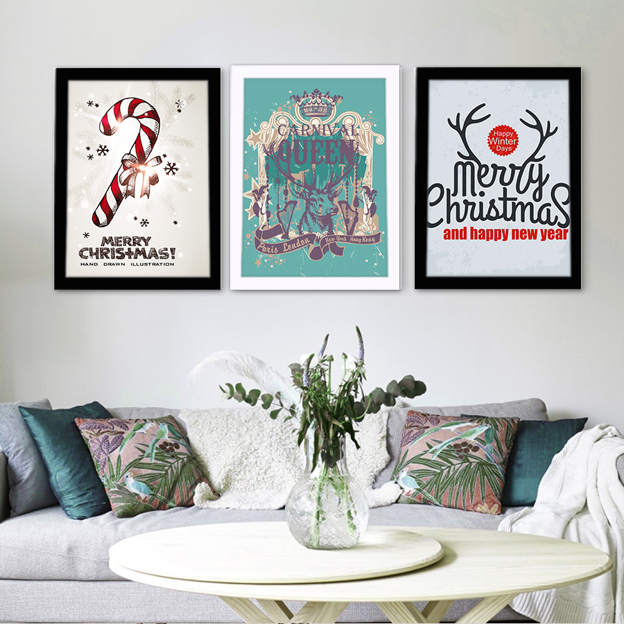 Christmas canvas painting with cardboard frame art print for Wall poster for living room