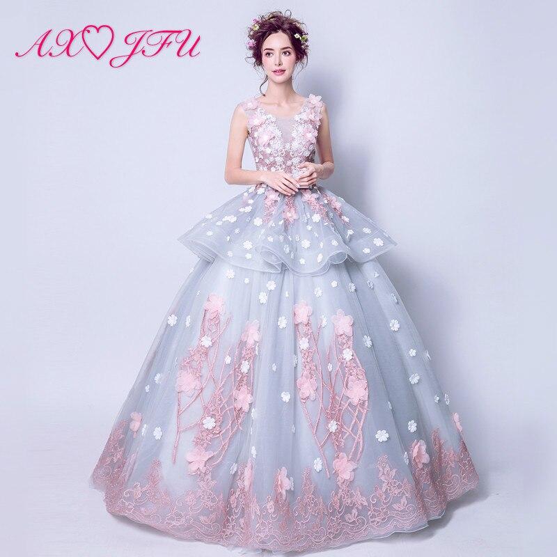 AXJFU Феи wonderland серый кружева розовый цветок вечернее платье принцесс Иллюзия лук невесты вечернее платье es 2352 size6, 8 м