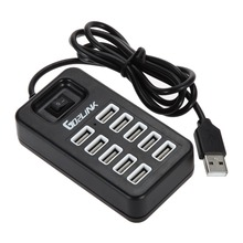 Go2linK 10 Ports USB Splitter Adapter With ON/OFF Switch High Speed USB 2.0 Hub
