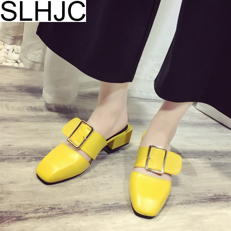 SLHJC 2018 Buckle Leather Sandals Med Heel Closed Square Toe Slippers Women Summer Pumps Shoes Outdoor Slides
