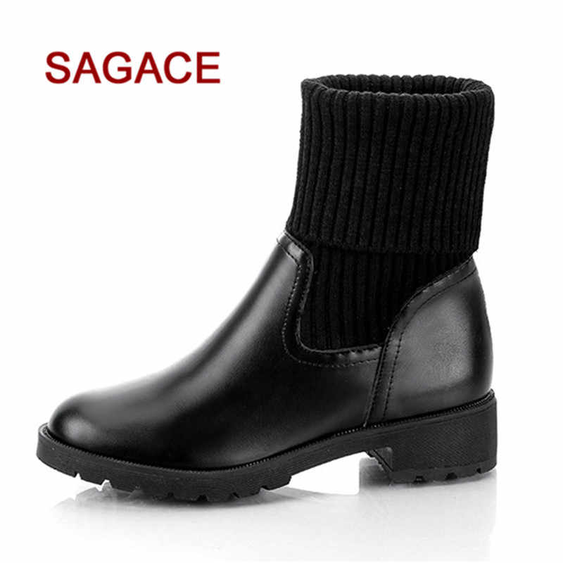 36bbf8783bf HB@SAGACE Women Square Heel Shoes Martain Boot Leather Keep Warm Round Toe  Slip-